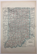 1892 Encyclopedia Britannica Map-Indiana State Antique Vintage Original Map