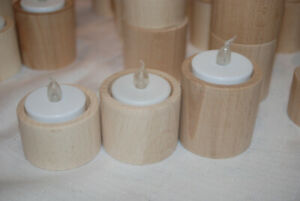 3x Wooden Tea Light Candle Holders -   Round in Various Sizes.