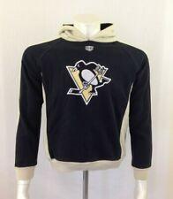 Pittsburgh Penguins NHL Hoodie Boys Black Beige Hooded Sweatshirt Size Large