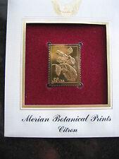 MERIAN BOTANICAL PRINTS CITRON replica 22kt Gold Golden Cover Stamp FDC 1997