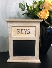 Wall Mounted Rustic Whitewash Wooden Key Cupboard Chalkboard Message Blackboard