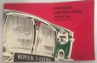 Vintage ROVER 3-LITRE MK III 1965 original Instruction Car Owners Manual
