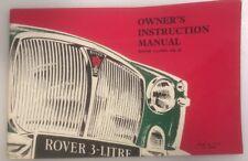 """Vintage ROVER """" 3-LITRE  MK III """"  1965  original  INSTRUCTION / OWNER's  MANUAL"""