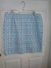 NWT Talbots Woman - Sky Blue / White Floral - Cotton Skirt - Size 18W
