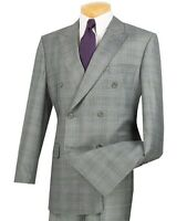 2020 Men's Gray Glen Plaid Double Breasted 6 Button Classic Fit Suit NEW
