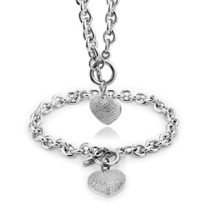Women Silver Stainless Steel Chain Aglare Heart Toggle Necklace Bracelet Set