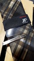NWT JF J.Ferrar Narrow Black Brown Plaid Tie with tie clip Brand NEW