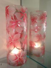 """Set Of 2 Tall 9"""" glass Candle Holders Tea Light dinner table light Flower art"""