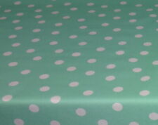 Cotton Tablecloth by the Metre Washable, Mint With Dot 226-2127