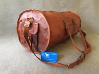 """Handmade Leather 20"""" ROUND Duffel DMR Sport Cabin Bag *Free Leather Care*"""