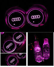 2PCS for Audi LED Car Cup Bottle Holder Pad Mat Auto Interior Atmosphere Lights