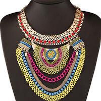 GN- Fashion Womens Multi-Layers Statement Pendant Chain Collar Bib Necklace Prec