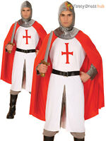Mens Knight Crusader Costume Adults St Georges Fancy Dress Medieval Hero Outfit
