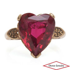 Vintage Synthetic Ruby 10K Gold Heart Engraved Cocktail Ring NR