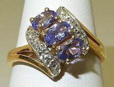 TANZANITE & DIAMOND RING IN 14K YELLOW GOLD OVERLAY 925 STERLING SILVER  SZ 7