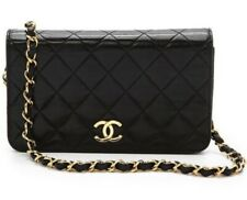 Chanel Black Matelasse CC Flap WOC Wallet On Chain Gold HW Shoulder Bag Clutch
