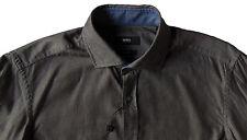 Men's HUGO BOSS Charcoal Gray Shirt XXL 2XL NWT NEW $165+ Slim Fit RIDLEY