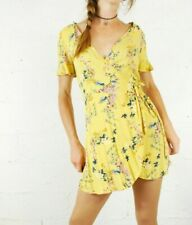 PULL & BEAR Yellow Floral Wrap Mini Dress - Size Medium