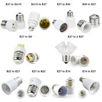 G9 E27 E14 B22 Edison White Plastic Adaptor Screw Sockets Socket Bulb Extender