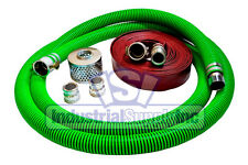 "3"" EPDM FCAM x MP Suction Hose Camlock Kit w/50' Red Discharge Hose Ships Free"