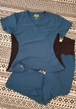 Ave Scrub Set (Top + Pants) Womens Medium Caribbean Blue