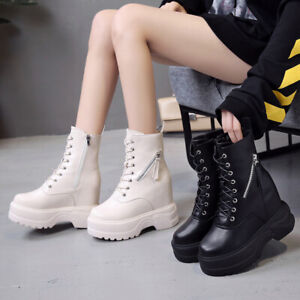 Womens Platform Boots Lace Up Hidden Wedge High Heels Casual Shoes Side Zip Boot