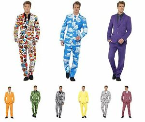 NEW Mens Fun Printed Suit & Matching Tie - Stag Party Stand Out Fancy Dress