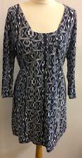 Fat Face Ladies Geometric Pattern Blue White Cotton Dress Tunic Size UK 12 Tie