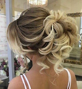 UK Curly Messy Bun Hair Piece Highlight Full Head AS HUMAN HAIR Extensions Real