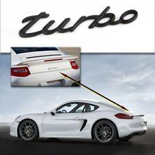 turbo EMBLEMA BADGE LOGO NERO CROMO ADESIVO PORSCHE 911 CARRERA CAYENNE BOXSTER