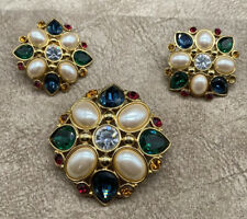 VTG Signed Monet-Large Faceted Glass & Rhinestone Pin/ Brooch+Matching Earrings