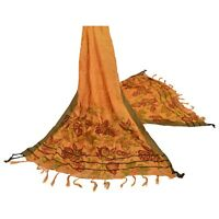 Sanskriti Vintage Dupatta Long Stole Woolen Saffron Wrap Veil Printed Shawl