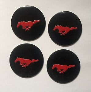 Set of 56mm Black Domed Wheel Centre Cap Cover Stickers For Car Mustang Ford Red