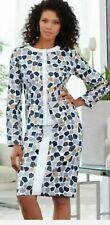 Midnight Velvet White Multi Formal Dress Dinner Church Marinda Skirt Suit Size 8