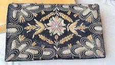 "8x5"" Floral True Zari Clutch Velvet Sterling Silver, Gilt Thread India Orig. Box"