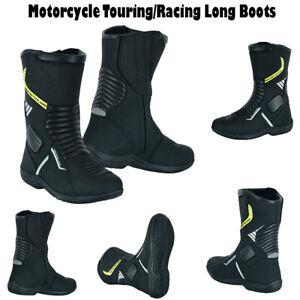 Mens Motorbike Leather Boots Biker Racing Motorcycle Armoured Shoes Waterproof