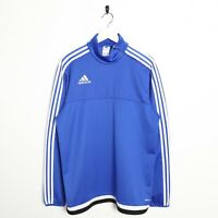 Vintage ADIDAS Small Logo Polyester Sports Sweatshirt Blue | Large L