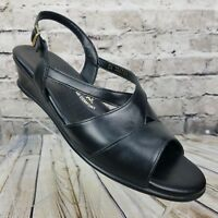 SAS Tripad Comfort Women's Black Leather Slingback Buckle Sandals Shoes Size 10M