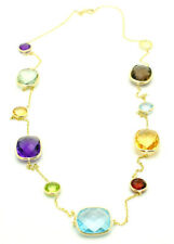 14K Yellow Gold Necklace With Multicolored Gemstones By The Yard 20 Inches