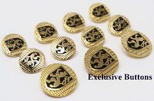 Gold Metal Blazer Buttons Set - Herringbone Rampant Lion