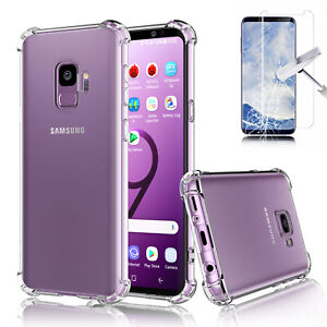For Samsung Galaxy S9 / S9 Plus Clear Case Bumper TPU Cover + Screen Protector