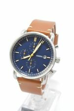 Fossil FS5401 The Commuter Blue Dial Light Brown Leather Strap Men's Watch