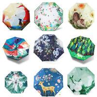 Anti-UV Sun Rain Umbrella Parasol Protection Windproof Flower 3-Folding Travel