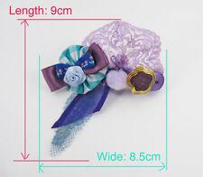❤️ Handmade ❤️ Purple Turquoise Hair Clip- Bow Lace Rose*Harajuku Lolita Kawaii*