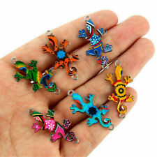 10Pcs Alloy Colorful Gecko Connector Charms Fit DIY Necklace Bracelet Making NEW