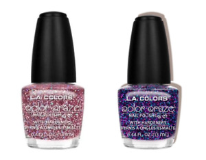 LA COLORS GLITTER Nail Polish SPARKLING PINK + PURPLE Set of 2 New & Sealed