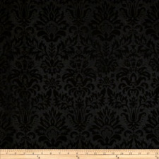 Embossed Felt 54 inch Heritage Damask Black Fabric By The Yard