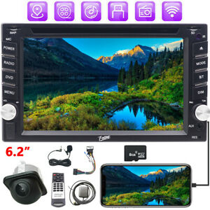 GPS MAP+CAM+Double 2 Din Audio In Dash Stereo Car Bluetooth Radio DVD For Nissan
