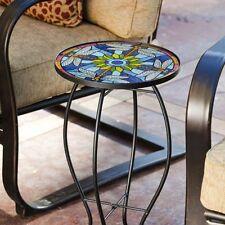 Elegante Tiffany Ispirato Metallo Vetro Blu Libellula Giardino Tavolo Sala Home Decor