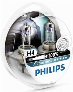 2 Light Bulbs H4 PHILIPS x-Treme Vision Renault Kangoo Master Megane +100%